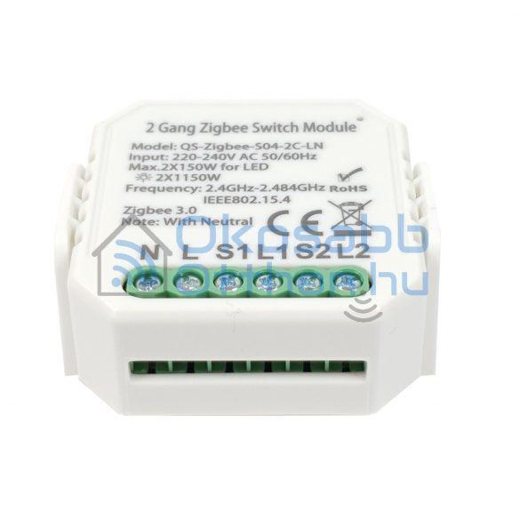 SmartWise Zigbee 230V relé két áramkörös, kapcsolóbemenettel
