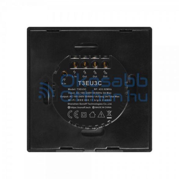 Sonoff TX T3 EU 3C 3 Gangos Fekete