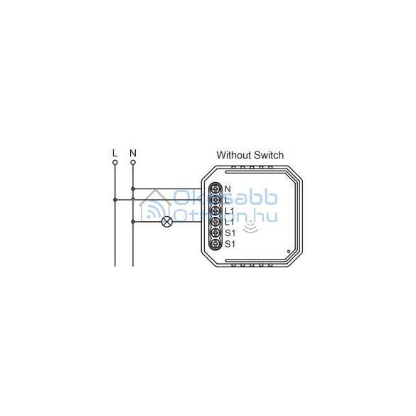 SmartWise Zigbee 230V relé egy áramkörös, kapcsolóbemenettel