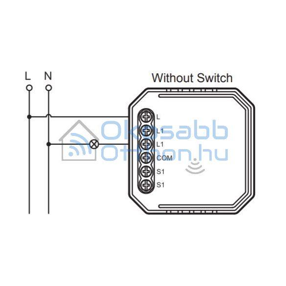 SmartWise Zigbee 230V relé egy áramkörös, csak fázissal működő, kapcsolóbemenettel
