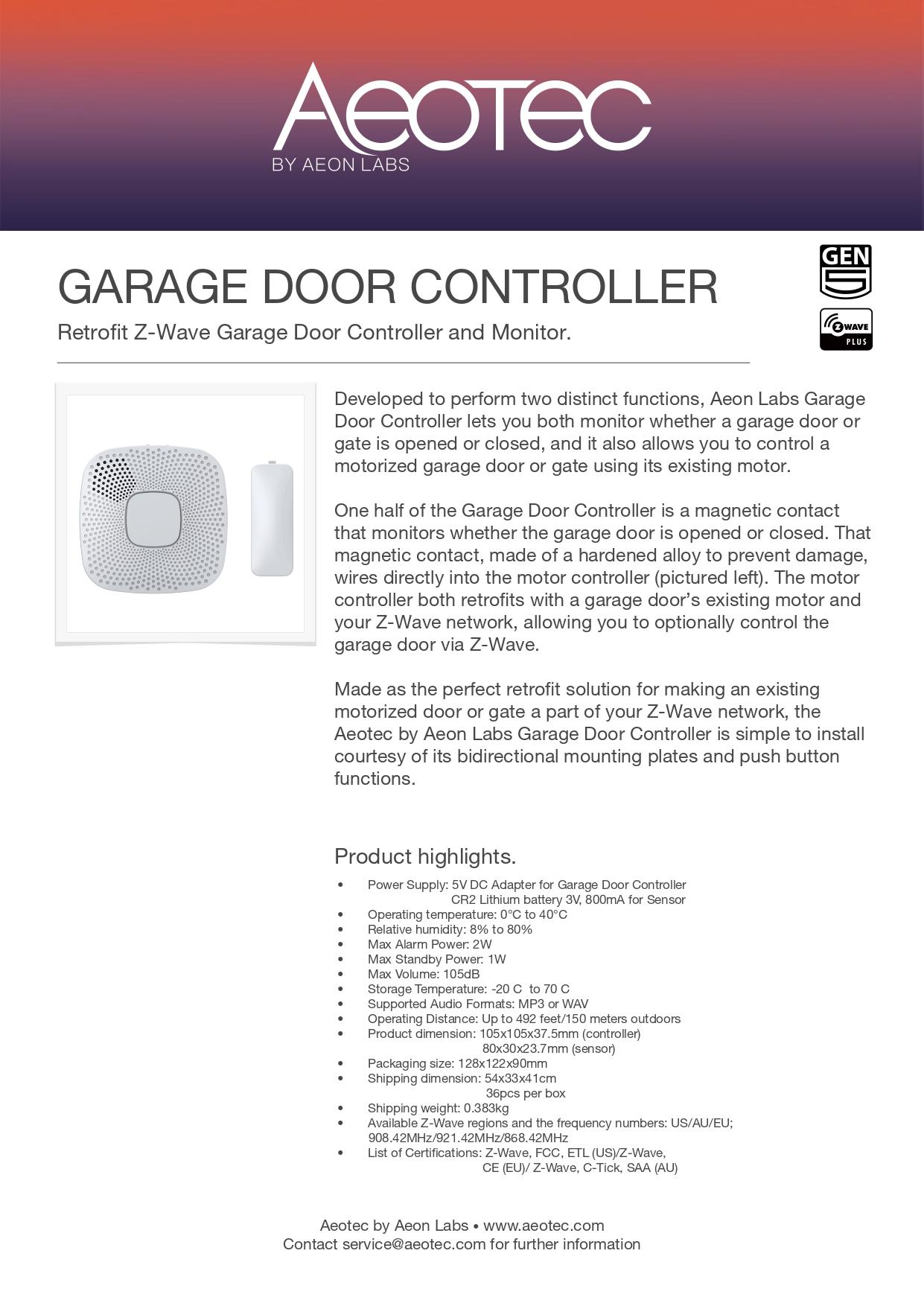 Aeotec Garage Door Controller Gen5