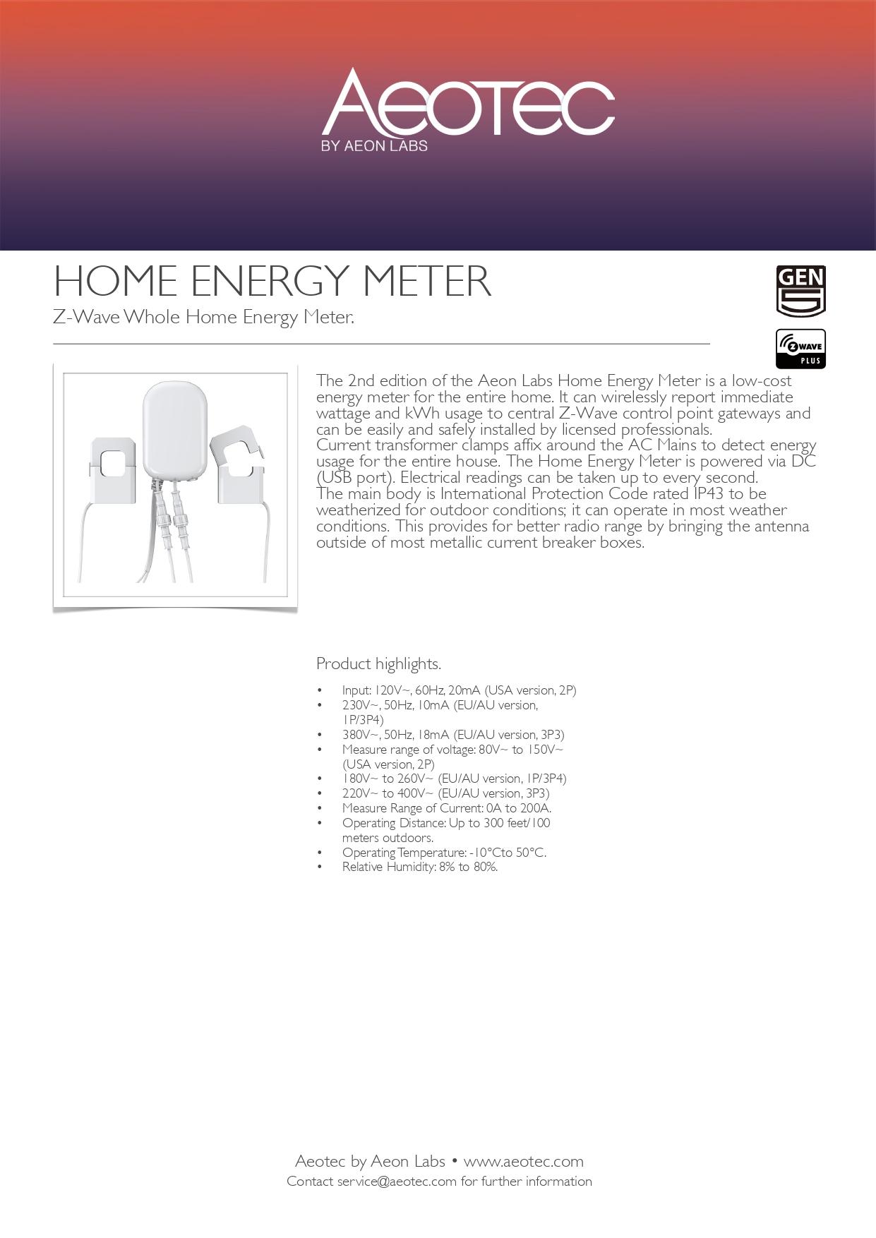 Aeotec Home Energy Meter 3-Clamp (60A) Gen5